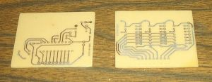 Two of the PCBs after Etching.